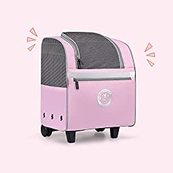 Pet trolley case Pet Transport Carrier, Out Backpack with Reflective Strip, Pet Bag Trolley Case Breathable Mesh Design for Dogs Cats and Small Animals,Pink