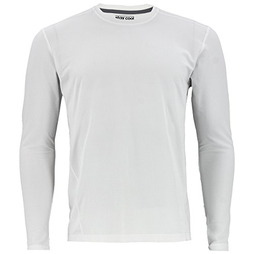 adidas Mens Baselayer Climacool UPF Long-Sleeve Crew Shirt Underwear (1-Pack), White, Medium