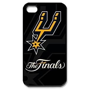 DIY case 1 NBA Team San Antonio Spurs Print Black Case With Hard Shell Cover for Apple iPhone 4/4S