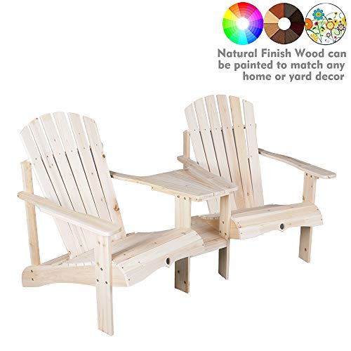 kdgarden Outdoor Double Lounge Adirondack Chairs Loveseat Set with Table, Cedar/Fir Log Tete-A-Tete, Natural Finish