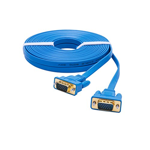 DTECH Ultra Slim Flat Computer Monitor VGA Cable 25 Feet in Blue (Blue Flat Cable)