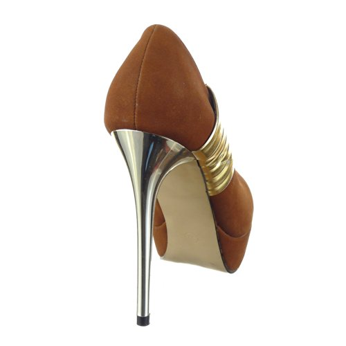 12 Decollete CM Zapatillas Tobillo Moda de mujer escarpín Marrón metálico Stiletto Tacón Sopily 5 XvwTS7S