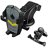 LEEIOO Universal Car Mount for Mobile Phone Auto-Grab Function 3 in 1 Dashboard Windshield & Air Vent Cradle for Vehicle 360° Rotating Phone Holder for iPhone Samsung Nokia Sony HTC Phones - Black