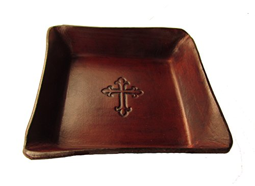Twin Saints Christian Gift, Embossed Cross Leather Tray. Keepsake for First Communion, Confirmation, or Baptism.