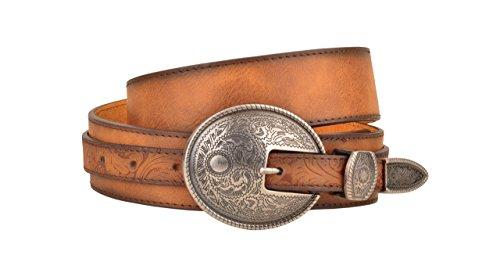 Western Aged Finish Tan Genuine Leather Belt Engraved Oval Belt Buckle (M)