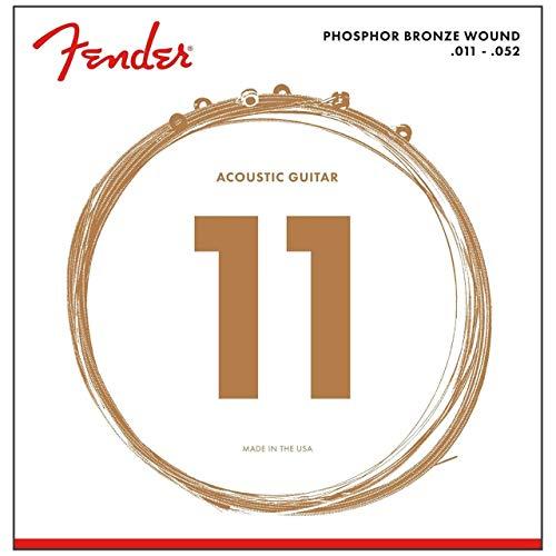 Fender Acoustic Guitar Phosphor Bronze Custom Light Ball End Strings, .011 - .052, 60CL