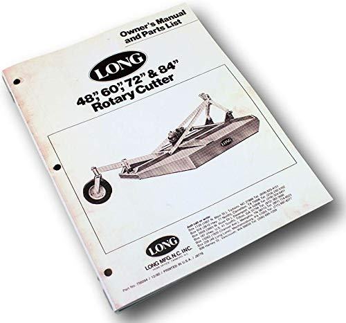 Long 1772 1784 Rotary Brush Cutter Owner Operators Parts Manual List 72
