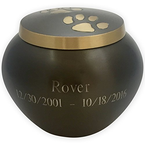(Beautiful Life Urns Pawsitively Cherished Custom Pet Urn Personalized, Small, Slate/Gold)