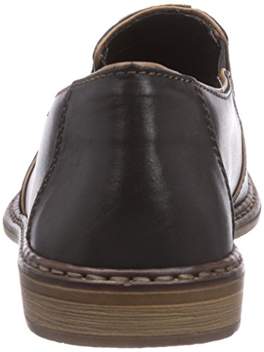 Rieker 13463 - Zapatillas de casa de cuero hombre negro - Schwarz (nero/zimt / 00)