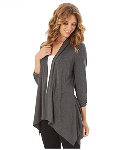 Women's Shark-Bite Open Front Cardigan Sweater (X-Large, Charcoal) from Apt 9