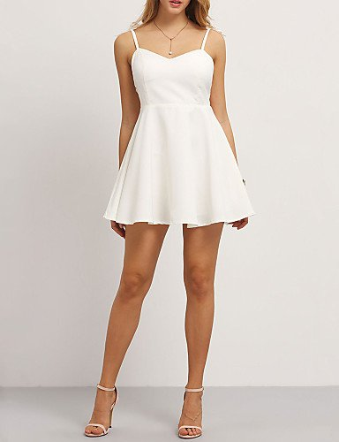 Fiesta Mujer De Blanco Vestido Partido Mujer Fiesta De De Vestido Línea Gran Sin Altura JIALELE Una Mangas Inelástica La WEcq1IZP