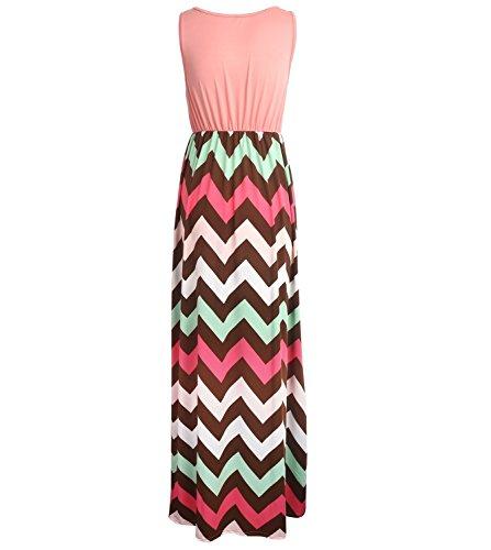 Très Chic Mailanda - Vestido de verano para muje. Fiesta. Vestido largo gasa. Cintura alta. Sin mangas. Cintura alta Rosa X-Large