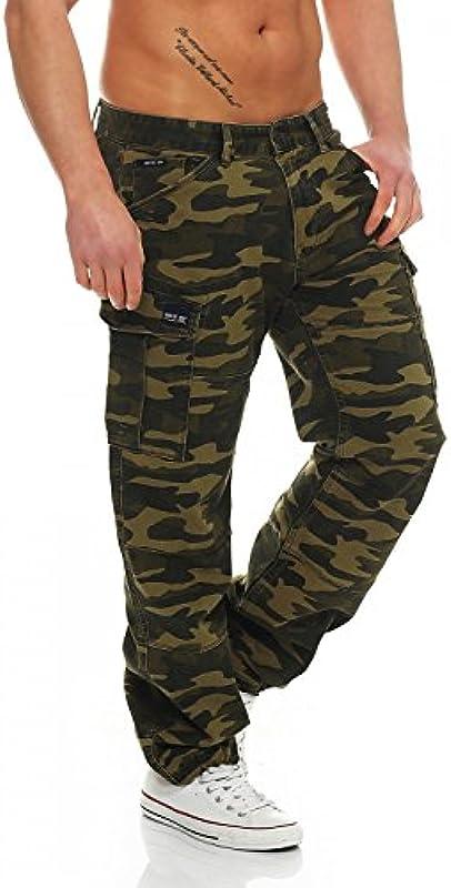 Big Seven Brian Cargo spodnie zielone Camouflage Comfort Fit męskie jeansy: Odzież
