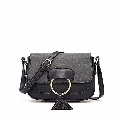 2018 nueva solo hombro Slant bolsa, circulo de la moda bolso de mujer,Brown Black