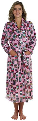 PajamaMania Women's Sleepwear Fleece Long Robe Grey & White Snowflake (PM1400-2011-SML)