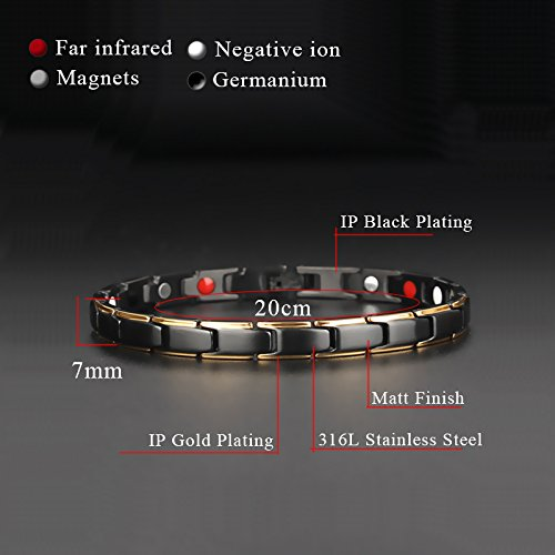 Hottime 316L Stainless Steel Magnetic Therapy Bracelet Pain Relief for Arthritis and Carpal Tunnel Photo #2