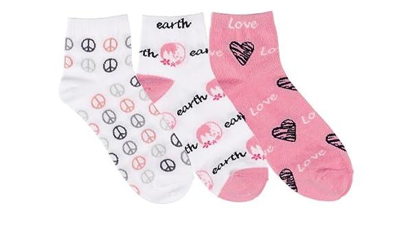 Prestige Medical moda tobillera enfermera calcetines - 3 Pack - amor y Paz en la tierra impresión: Amazon.es: Salud y cuidado personal