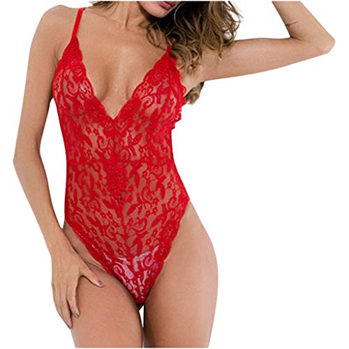 - Benficial Women Deep V Sexy Lingerie Camisole Lace Bodysuit Underwear Sleepwear Nightdress Red