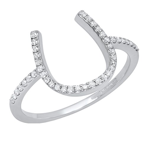 Horseshoe Ladies Ring Diamond (0.15 Carat (ctw) 10K White Gold Round White Diamond Ladies Horseshoe Engagement Ring (Size 7))