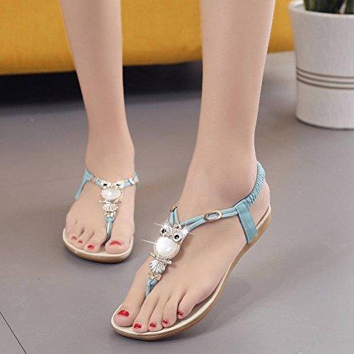 de Todo Punta de Los con Coinciden Mujer Zapatos 35 Sandalias Gato de Moda Cabeza Cuentas Zapatos Femeninas TYERY de Rosado con de Las av0Iw4H