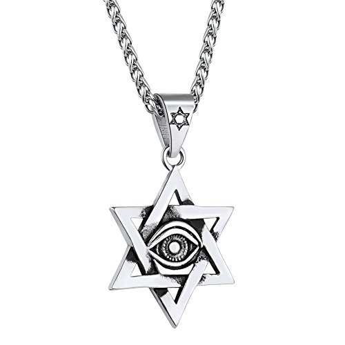 U7 Men Women Ancient Egyptian Jewelry Vintage Stainless Steel Eye of Horus Star of David Pendant Necklace