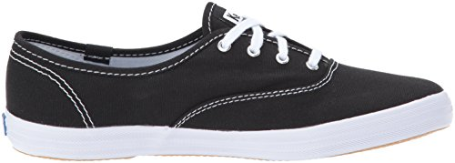 Keds Women's Champion Original Canvas Lace-Up Sneaker, Black/White, 5 N US