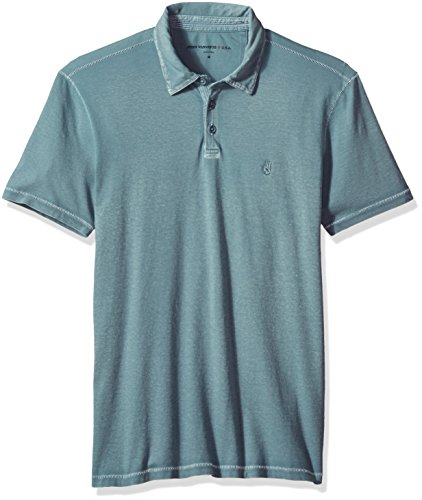 John Varvatos Men's Short Sleeved Cut and Sew Polo with Peace Sign Emb, Cornflower, (Contemporary Sign Men)