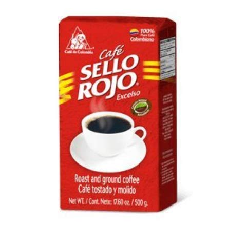 Colombian Coffee Sello Rojo- #1 Coffee Brand in Colombia- Sello Rojo Ground Coffee Brick Medium Roast 17.6 Oz (Pack of 1)