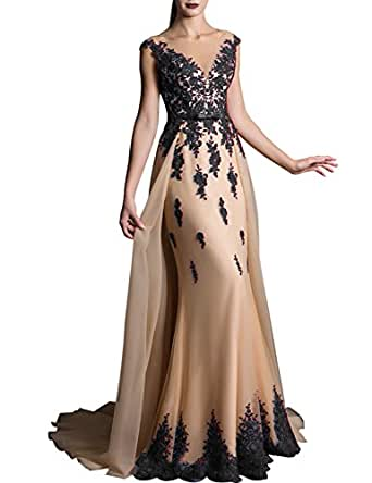 2019 Lace Prom Dress for Girls V Neck Evening Party Gown