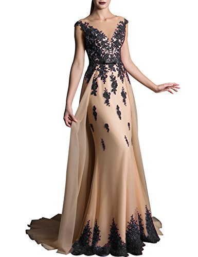 Long Lace Appliqued Prom Dresses Plus Size Evening Gown With Sweep Train Empire Waist With Sash Bow V Neck Cocktail Dresses 2018 Formal Celebrity EV429 Black Champagne Size 26W ()