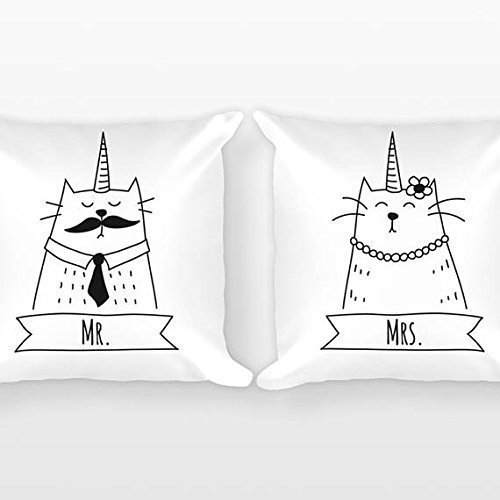 Caticorn Mr and Mrs Pillowcases, Cat Unicorn Couple Pillowcases, Wedding Gift, Couple Gift Set of 2 Throw Pillow Cover, Engagement Gift Anniversary - St Mall Lukes