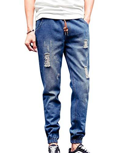 Pantaloni Laterali Da Denim Abbigliamento Con Uomo Strappate Vita In Coulisse Elastico Adelina E Dunkelblau Tasche Jeans Ogxq51