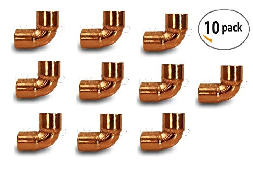 (Everflow Supplies CCLN0012 90 Degree C X C Copper Short Radius Elbow Fitting with Two Solder Cups, 1/2