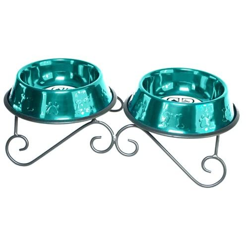 Platinum Pets 3-Cup Scroll Double Diner Stand with Two Bowls, Caribbean Teal