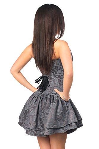 Daisy corsets Dark Grey Top Drawer Lace Steel Boned Ruffle Corset Dress by Daisy corsets