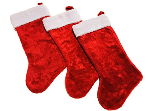 Set of 3: Christmas Stockings Classic Red 18'' Fluffy White Cuffs Red Loop for Decorations and Stocking Stuffers by Essential-Living360