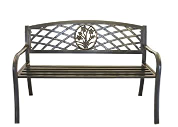 Metal Flower Bouquet Park Bench – Cast Iron Bench for Yard or Garden Product SKU PB11117