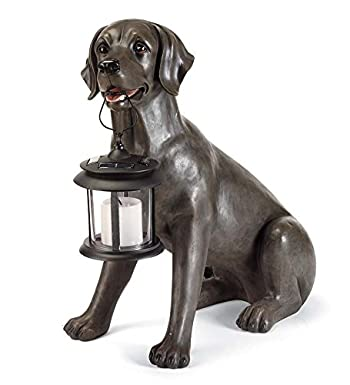 statue of black lab holding a solar lantern