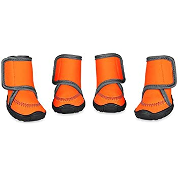 Prumya Dog Boots Waterproof Paw Protectors Dog Shoes with Adjustable Straps and Rugged Anti-Slip Sole, 4pcs (L)