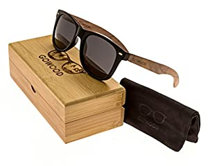 Walnut Wood Wayfarer Sunglasses For Men & Women with Polarized Lenses GOWOOD