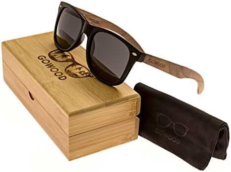Walnut Wood Wayfarer Sunglasses For Men & Women with Polarized Lenses GOWOOD
