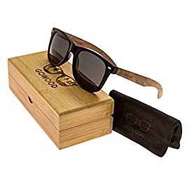 Walnut Wood Sunglasses For Men & Women with Polarized Lenses with Wood Box GOWOOD 18 WHILE OTHER WOOD SUNGLASSES brands can sometimes look and feel cheap, have stiff plastic hinges, pinch behind the ears or simply break after only a few uses, GoWood wood sunglasses are designed to eliminate these problems. The wood temples fold perfectly over each other both ways, the ear pieces do not pinch and the hinges are made of metal and are outward flexible. This means these polarized sunglasses for men and women feel solid, last longer and are more comfortable. FULL PROTECTION AGAINST THE SUN - No more squinting your eyes, because GoWood sunglasses for men and women are equipped with polarized thermal cured lenses, which provide a clear vision and protect against glare and UV radiation. They further have an anti-reflective coating and are designed to withstand accidental impacts. HOP ON THE TREND - Look at your best with these beautiful womens and mens wood sunglasses. Wooden sunglasses have been hot for some time now, but the darker natural walnut wood is by far the most popular style at the moment. Each pair has its own unique wood grain and everybody just loves the darker natural wood.