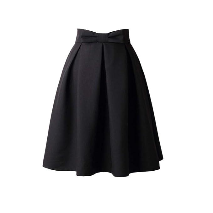 f72412a39589 FNKDOR Womens Plain Soft Stretch Vintage Dress Ladies Elasticated Waistband  Knee Length Full FLA Swing Skater Midi Skirt  Amazon.co.uk  Clothing