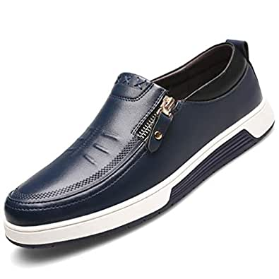 COSIDRAM Mens Casual Loafers Leather Shoes Stylish Side Zipper Comfy Soft Sole Slip on Oxford Sneakers Shoes Large Size Flat Black Brown Driving Shoes for Male Business Outdoor Dress