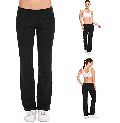 Goodfans Women's BootLeg Yoga Pant Tummy Control Workout Running Stretch Pants(Black, (Flatter Fit Tummy Control Pants)