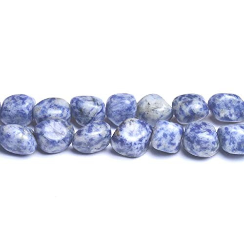 Nugget Bead Strand - Strand 25+ Blue/White Spot Jasper 12-16mm Smooth Nugget Beads D01855 (Charming Beads)