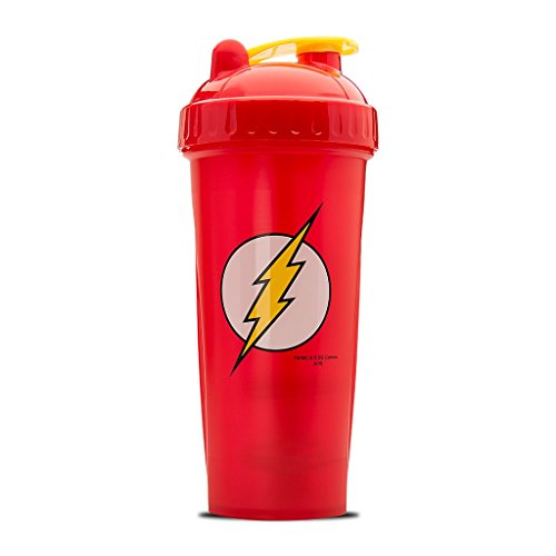 Performa Justice League & DC Comic - Leak Free Protein Shaker Bottle with Actionrod Mixing Technology for All Your Protein Needs! Shatter Resistant & Dishwasher Safe (Flash DC)