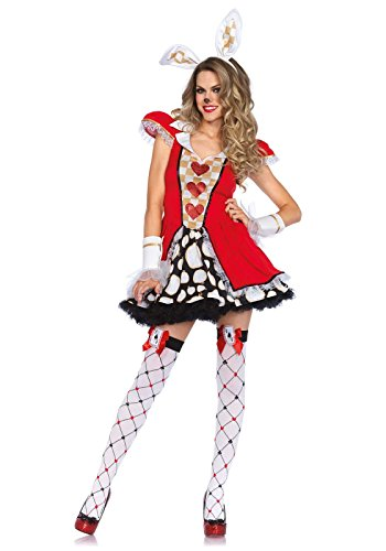 White Rabbit Costume Ladies (Leg Avenue Women's 3 Piece Tick Tock White Rabbit Costume, Multi, Small/Medium)