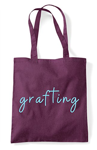 Grafting Statement Tote Hashtag Quote Bag Shopper Plum rrf1pTwxUq