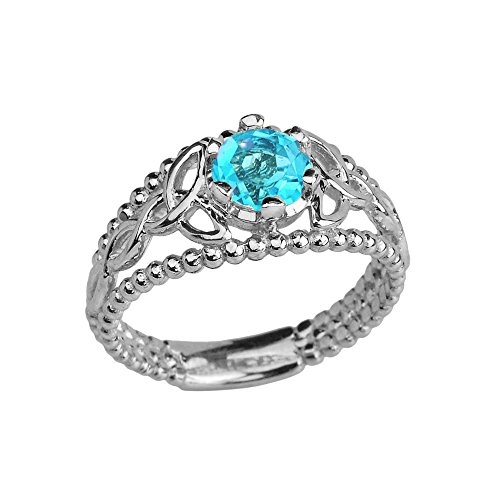 10k White Gold Modern Beaded Celtic Trinity Knot Engagement Ring with Genuine Blue Topaz (Size 8)
